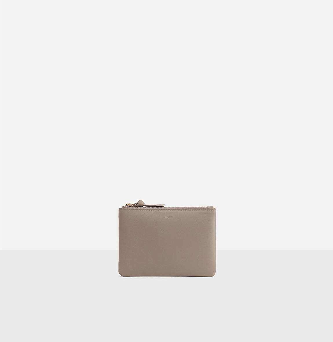 Square small zip wallet Beige