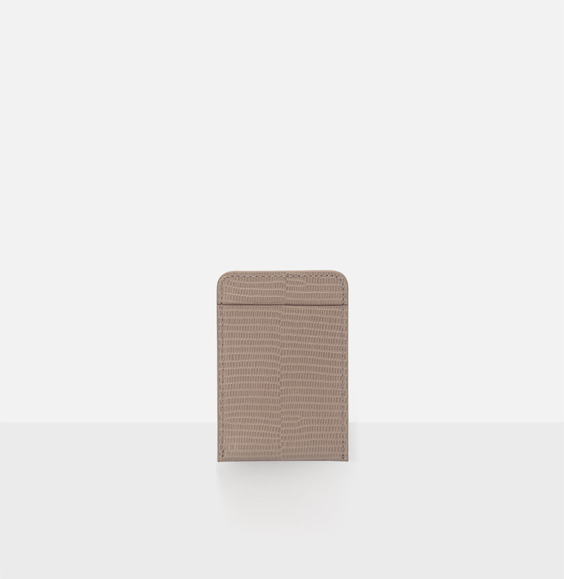 [19FW NEW] Basic card Holder Beige Lizard pattern