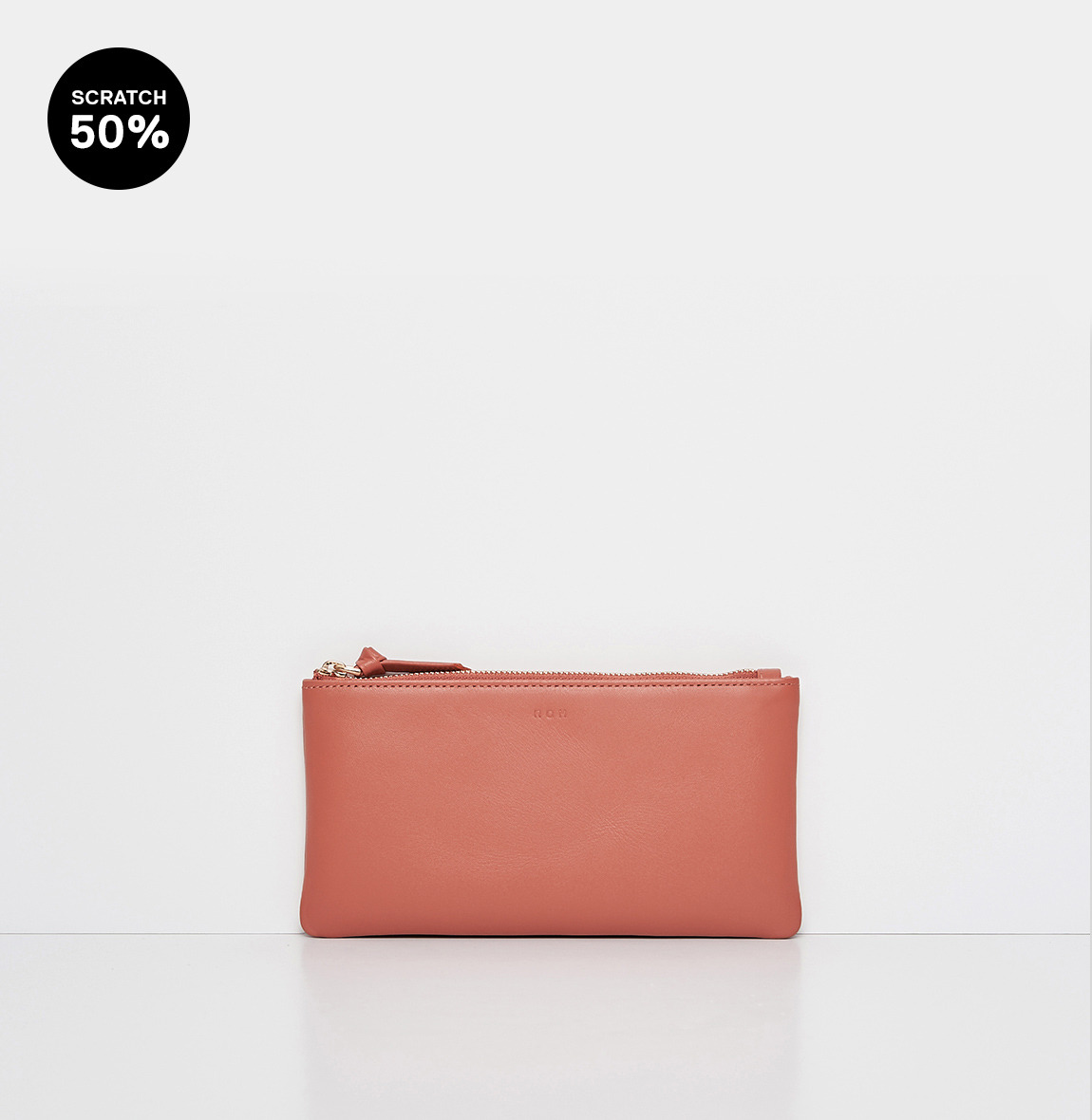 Square large zip wallet Amber coral-스크레치