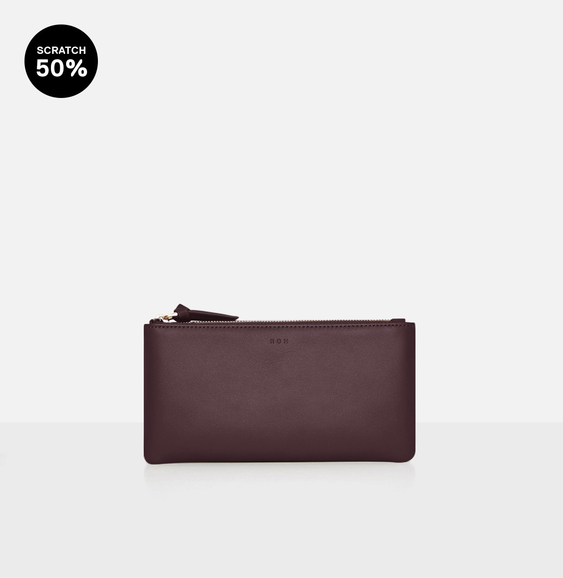 Square large zip wallet Burgundy-스크레치