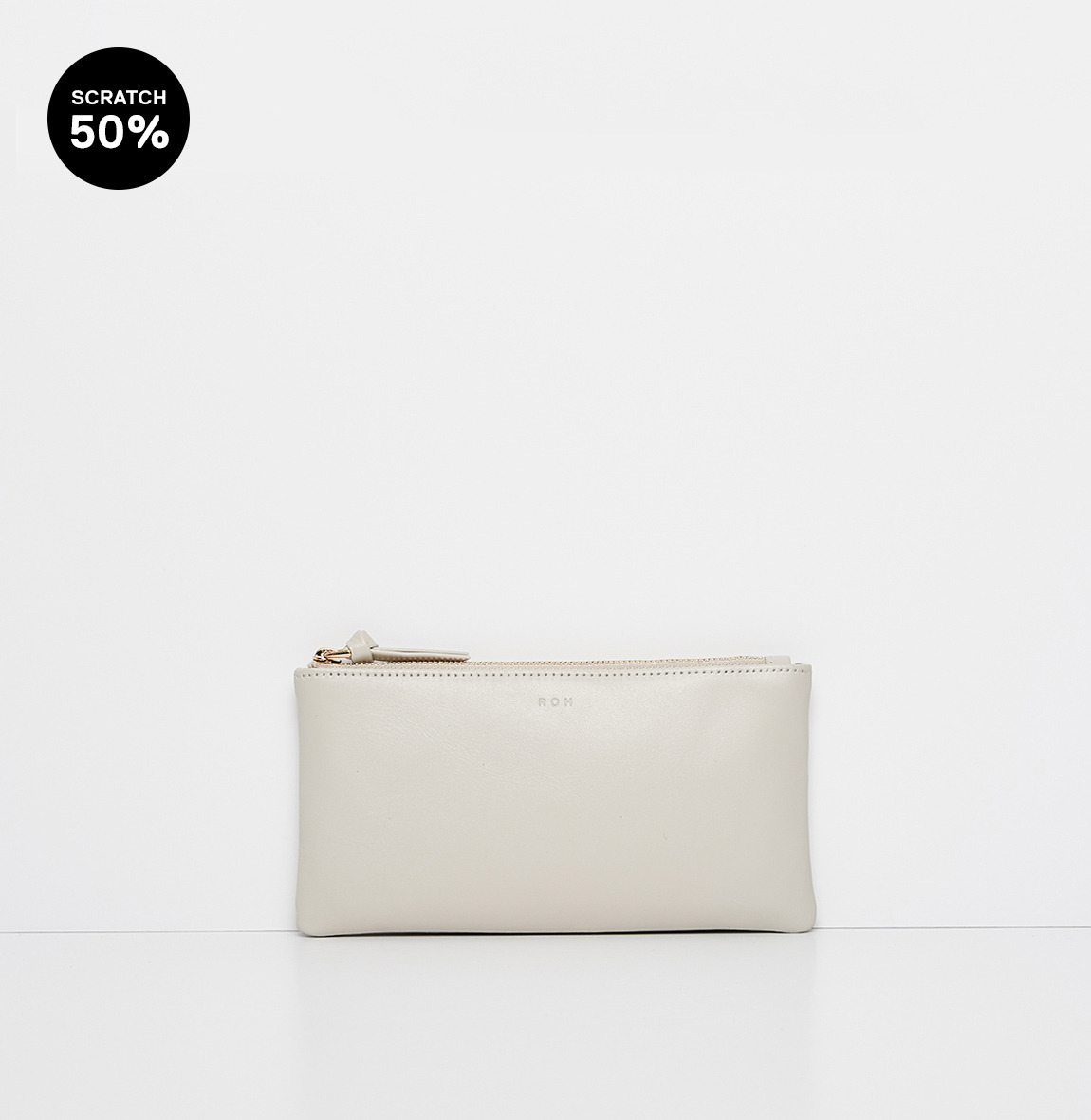 Square large zip wallet Ivory-스크레치