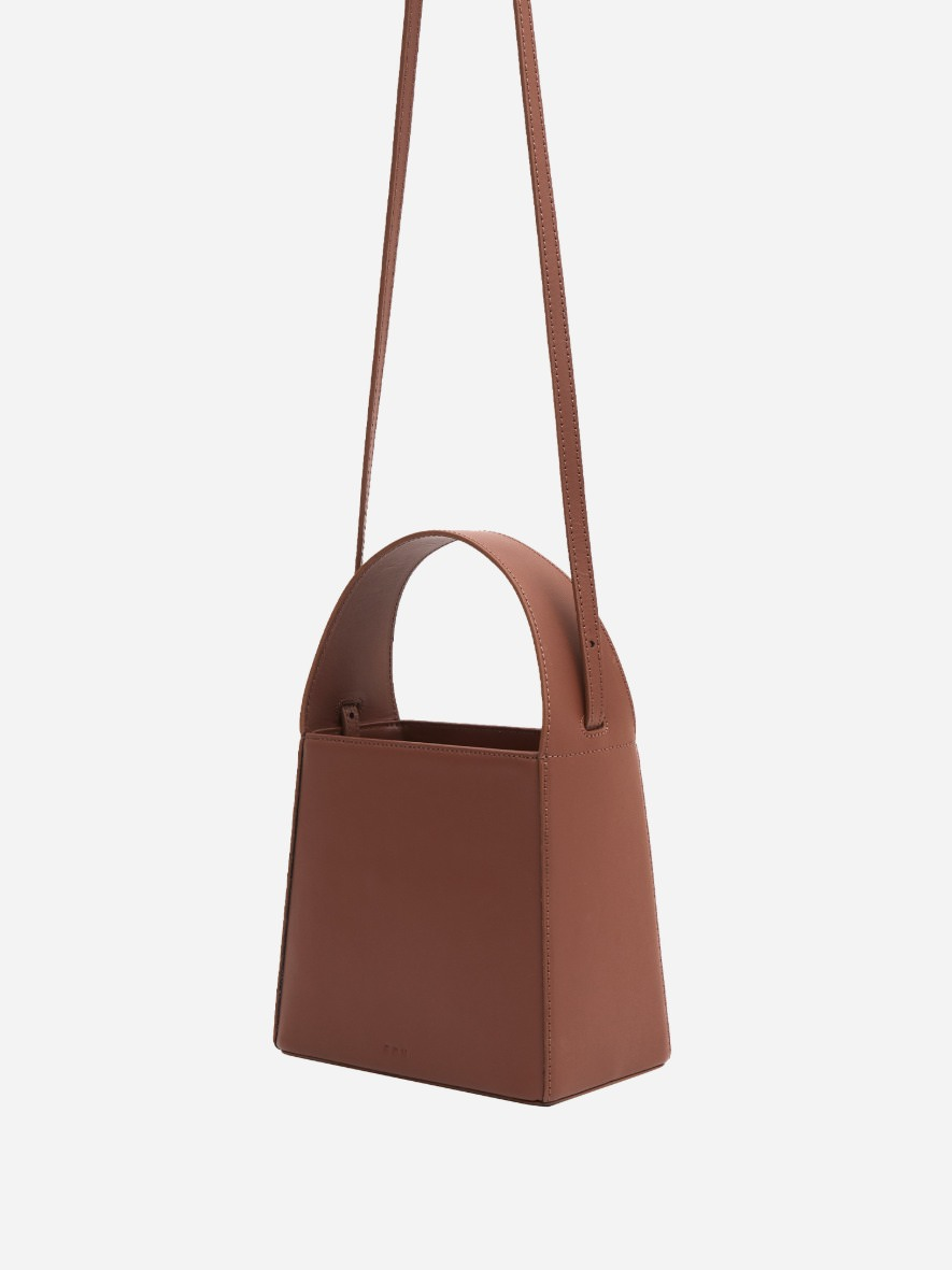 Panier leather tote bag Smoky tan